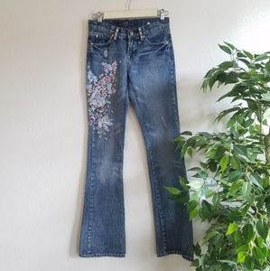 7 For All Mankind Embroidered A Pocket Bootcut 27